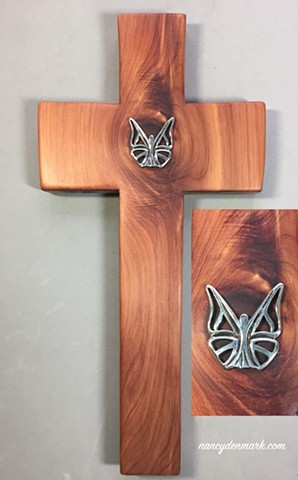STERLING BUTTERFLY ON CEDAR CROSS SOLD
