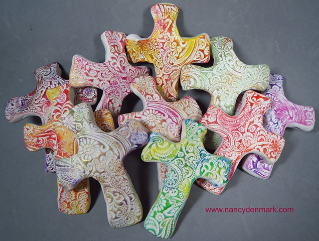 Hand crosses impressed with paisleys and flourishes by Nancy Denmark