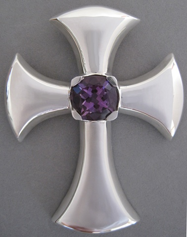 large sterling silver pectoral cross with amethyst © Nancy Denmark