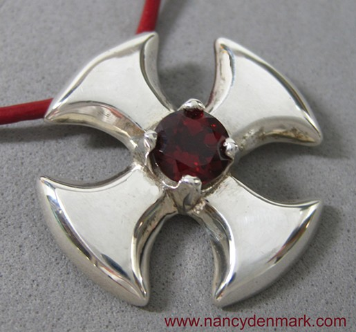 small canterbury cross with garnet gemstone © Nancy Denmark
