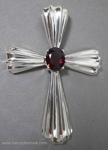 sterling silver fluted cross with garnet © Nancy Denmark