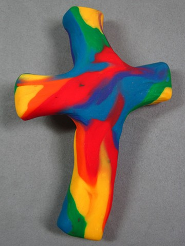 polymer clay hand cross made by Nancy Denmark