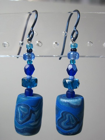 polymer clay beaded earrings by Nancy Denmark