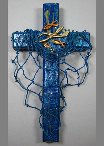"""collage wall cross with """"cast your nets"""" symbolism by Patti Reed & Nancy Denmark"""