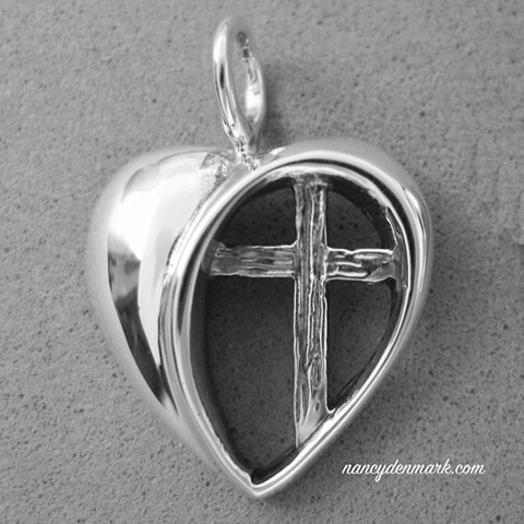 Heart with Cross sterling pendant ©NancyDenmark