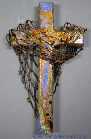Cast Your Nets themed wall cross by Nancy Denmark