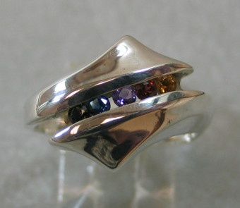 STERLING RING WITH RAINBOW OF STONES