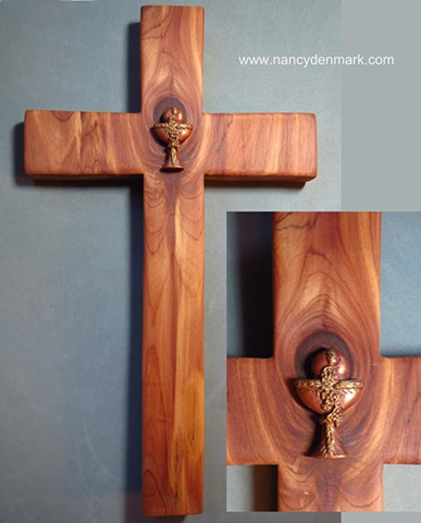 collaborative cedar cross by Margaret Bailey with Nancy Denmark's chalice symbol