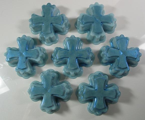goat's milk soap in cross shape handcrafted by Nancy Denmark