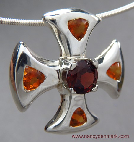 Garnet & Citrine Canterbury Cross ©Nancy Denmark
