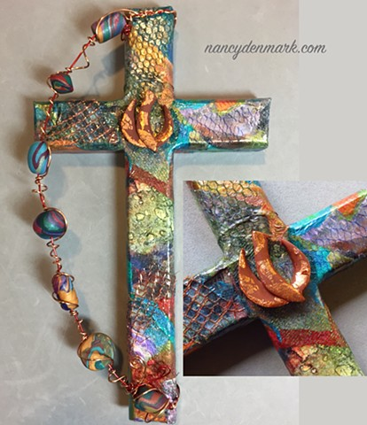 Descending dove on collage wall cross ~ Spirit In Motion ©NancyDenmark