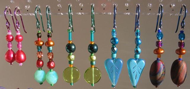 colorful beaded earrings by Nancy Denmark