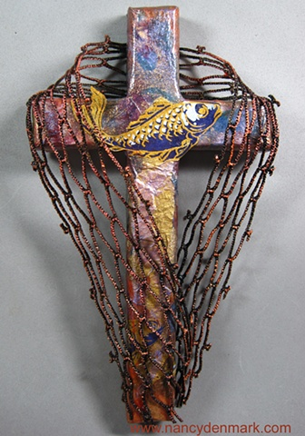 Cast Your Nets themed wall cross by Nancy Denmark & Patti Reed
