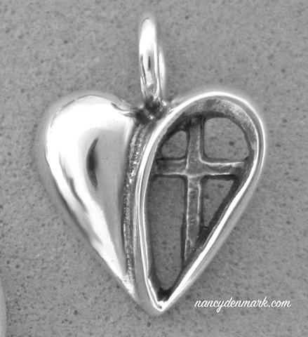 sterling silver heart with cross pendant ©Nancy Denmark