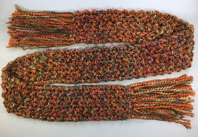 J8_ RUST, EARTH TONES, METALLIC SCARF