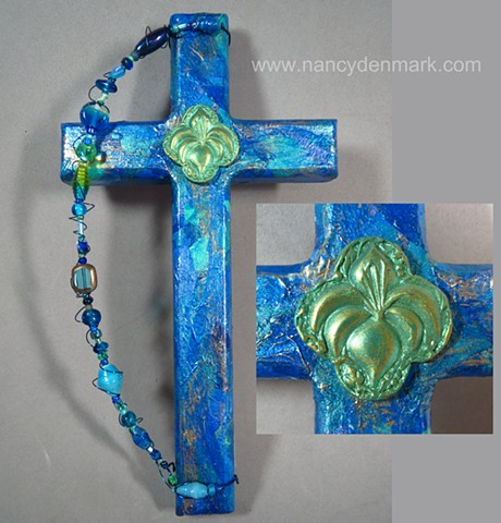 collage cross with lily symbol by Nancy Denmark