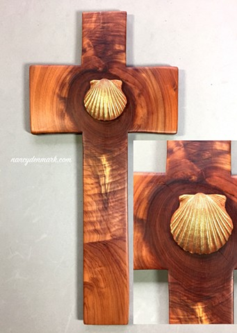 ONE LORD, ONE FAITH, ONE BAPTISM SEASHELL SYMBOL ON CEDAR CROSS #2