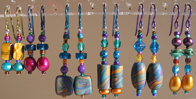 beaded earrings with hypoallergenic niobium earwires by Nancy Denmark