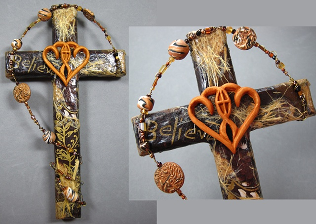 brown and gold collage wall cross with marriage symbol Nancy Denmark Patti Reed