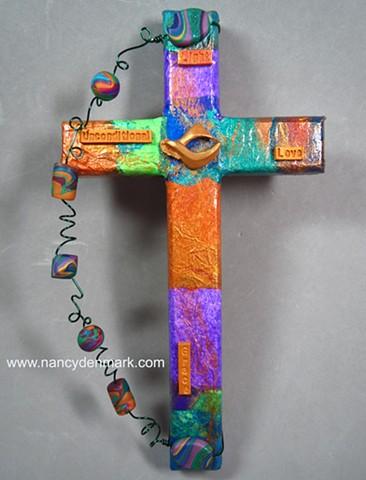 Peace dove collage wall cross by Nancy Denmark