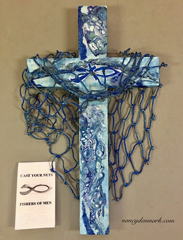 CAST YOUR NETS COLLAGE WALL CROSS (BLUE)