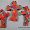 3 HAND CROSSES  BROWN CLAY W/ COLORFUL ACCENTS