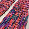 N13_CORAL, TEAL, PURPLE CHENILLE RIBBON SCARF CLOSE UP