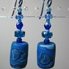 BLUE CYLINDRICAL POLYMER CLAY EARRINGS