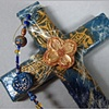 BLUE & GOLD COLLAGE CROSS  WITH DOGWOOD QUATREFOIL