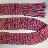 N13_ CORAL, TEAL, PURPLE CHENILLE RIBBON SCARF