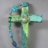 BLUE & GREEN COLLAGE CROSS WITH LILY QUATREFOIL