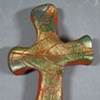 GRAPE LEAF IMPRESSED BROWN HAND CROSS WITH GREEN & GOLD
