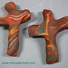SET OF 2 EARTHTONE SWIRLED  HAND HELD CROSSES