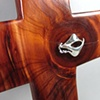 STERLING MESSENGER OF PEACE  ON CEDAR CROSS  CLOSE UP VIEW