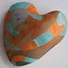 TURQUOISE ORANGE & BROWN HAND HEART