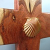 ONE LORD, ONE FAITH, ONE BAPTISM  POLYMER CLAY SHELL ON MESQUITE  CROSS CLOSE UP VIEW