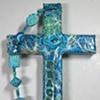 PEACE DOVE ON TURQUOISE  COLLAGE CROSS