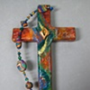 FILLED WITH THE SPIRIT DESCENDING DOVE ON EARTHY COLLAGE WALL CROSS (SOLD)