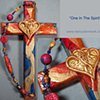 ONE IN THE SPIRIT COLLAGE CROSS (RED, GOLD, BLUE)