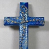 CRUCIFIX ON BLUE COLLAGE CROSS FULL VIEW