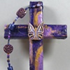 BE YE TRANSFORMED  ON PURPLE COLLAGE CROSS
