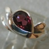 PEAR SHAPE RHODOLITE GARNET IN STERLING RING