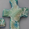 BLUE & GREEN HAND CROSS WITH LEAF IMPRESSIONS