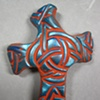 CELTIC KNOT DESIGN HAND CROSS BLUE HIGHLIGHTS ON BROWN CLAY