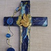 ECW BUTTERFLY ON BLUE COLLAGE CROSS W/ BEADS
