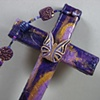 BE YE TRANSFORMED  ON PURPLE COLLAGE CROSS CLOSE UP VIEW