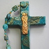 THE GOOD SHEPHERD ON TEAL COLLAGE CROSS