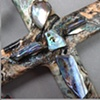 """FATHER, INTO YOUR HANDS I COMMEND MY SPIRIT""  CRUCIFIX ON COLLAGE CROSS"