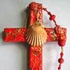BAPTISMAL SHELL ON RED COLLAGE CROSS