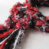 4_RED, BLACK, WHITE BRAIDED BOA SCARF CLOSE UP